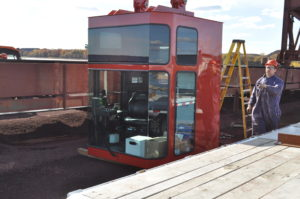 Red Crane Cab Construction On-Site