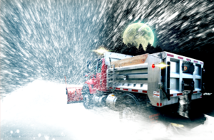 Concord Road Equipment Nor'Easter Plow Truck In Blilzzard With Full Moon