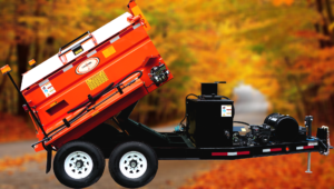 Concord Road Equipment Orange Asphalt Hauler Raised Side View Autum Background