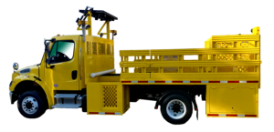 Iso Side View Of Yellow Concord Road Equipment Work Zone Truck